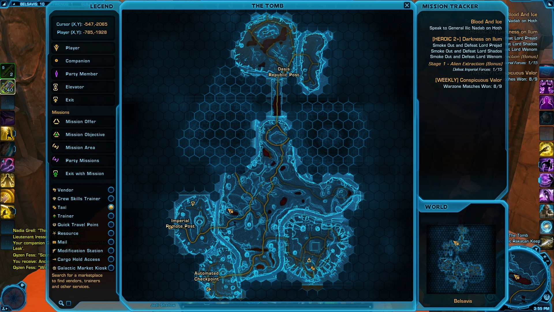 Location of the Belsavis Aim Datacron on the map
