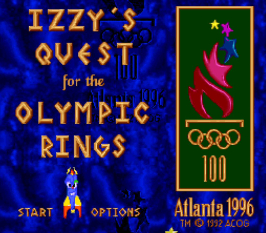 Izzys Quest for the Olympic Rings Title Screen